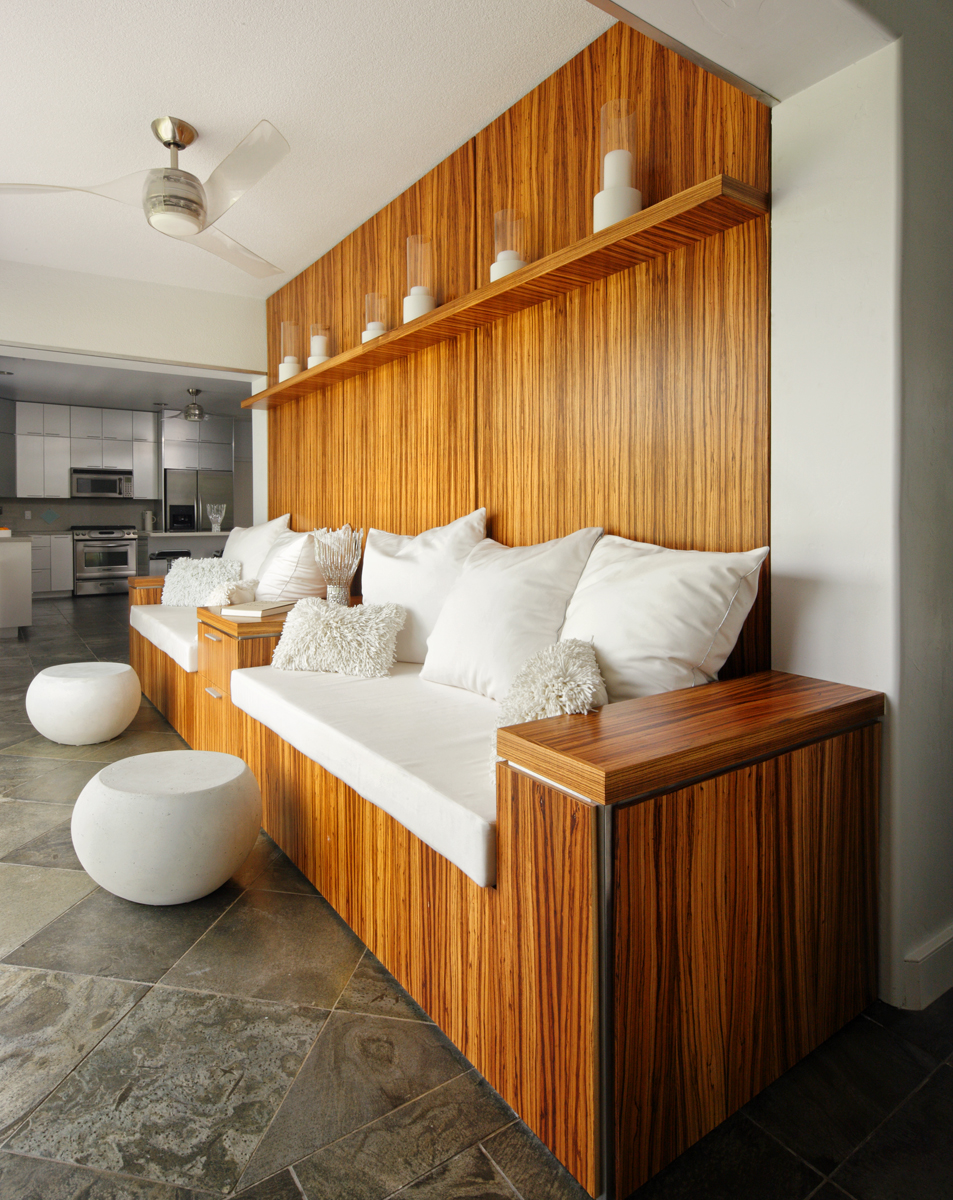 Hawaiian home's modern white room created using custom cushions
