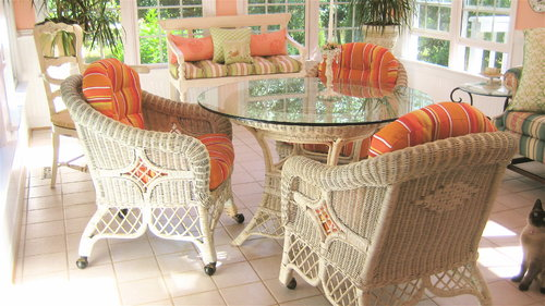 Sunbrella Dolce Mango outdoor wicker cushions