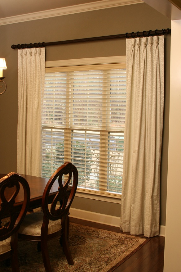 Contemporary Dining Room Draperies With Added Shades For Privacy
