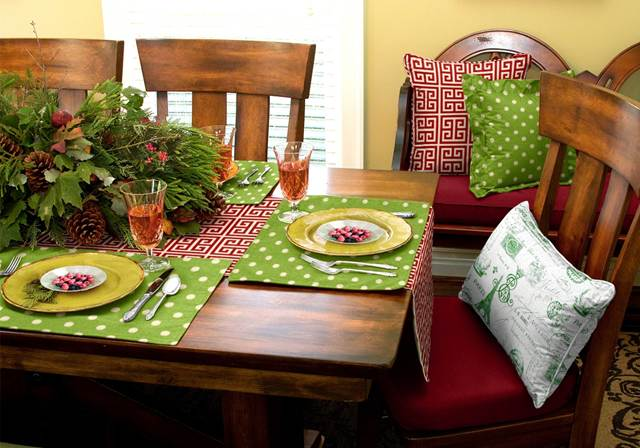 Kitchen cushions - table runner placemats and  pillows