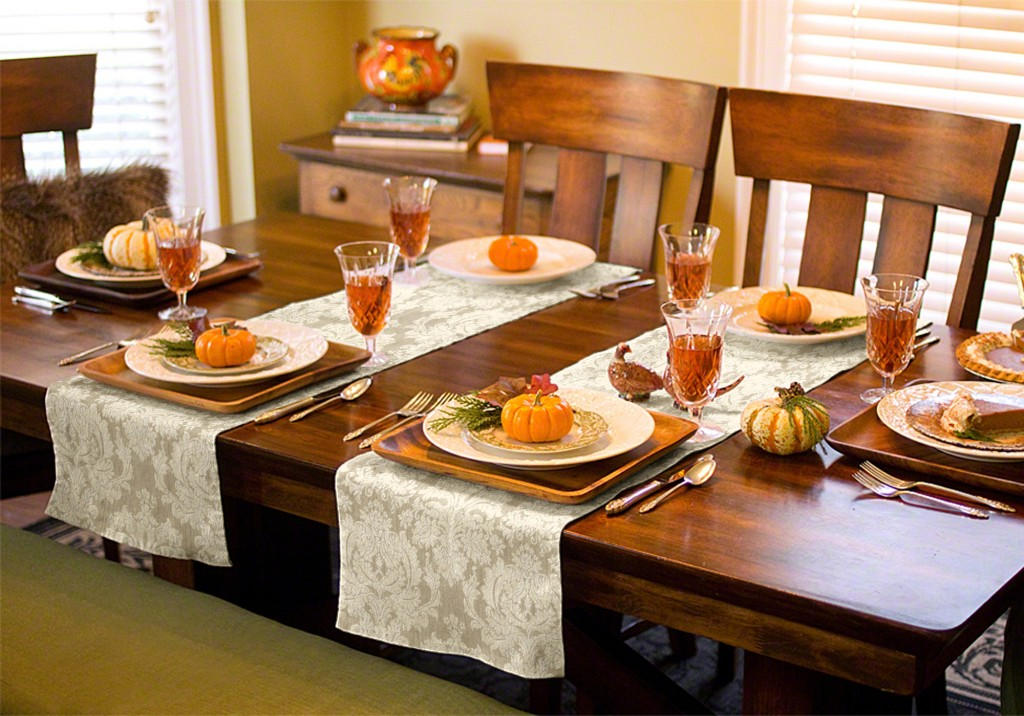 Seasonal table runners can be used in a variety of ways. Use one down the length of your table, or use a pair across the width of your dining table to create a sophisticated scene.