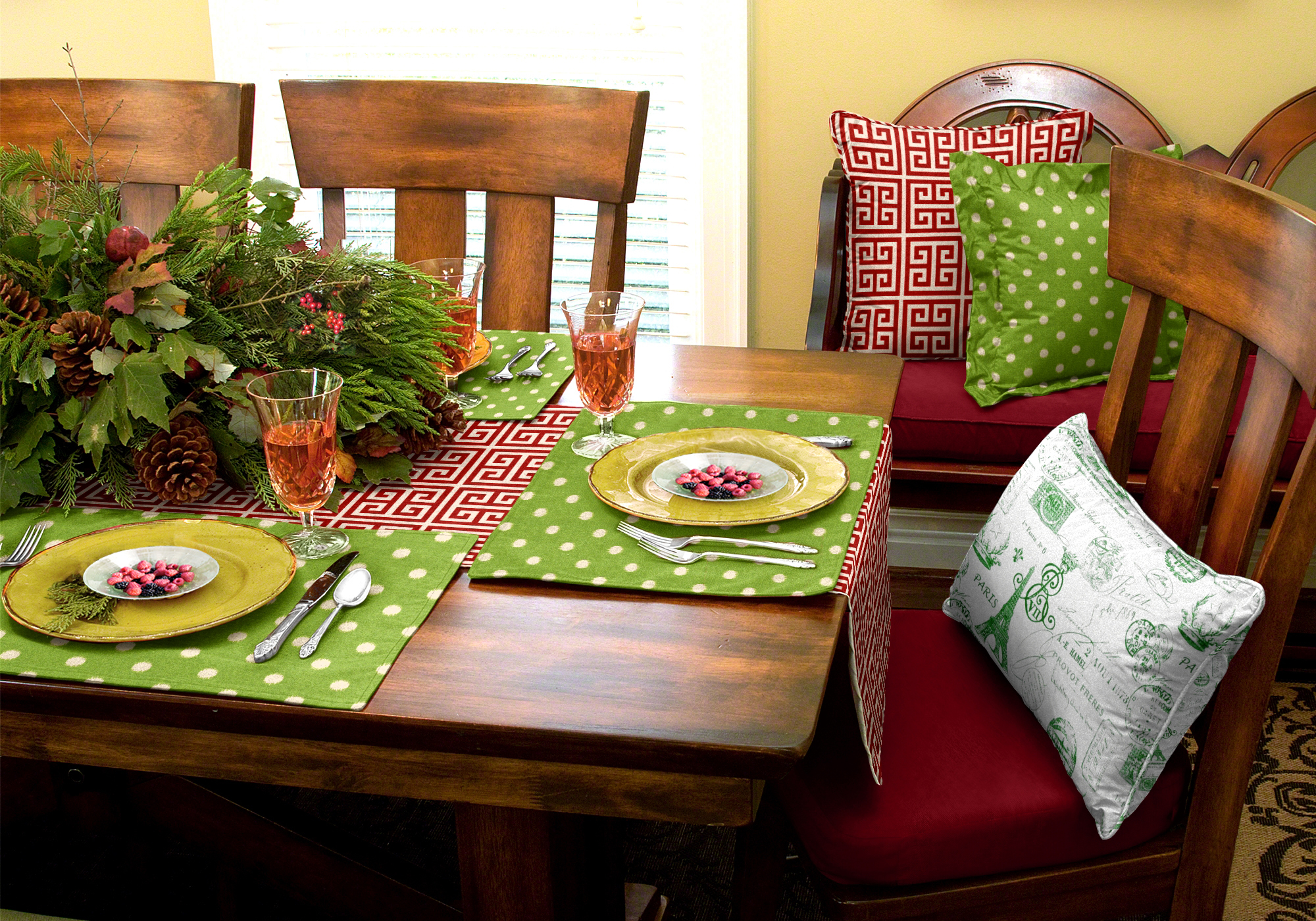 Christmas decorating is easy when you take advantage of this designer-coordinated collection from Cushion Source.
