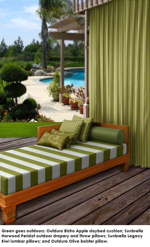Green fabric goes outdoors