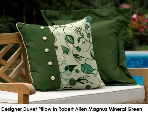 Designer Duvet pillow in Robert Allen Magnus green fabric