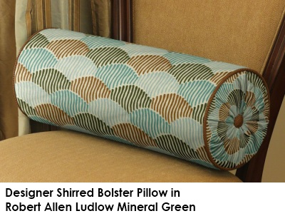 Shirred bolster in Robert Allen Ludlow Mineral Green fabric