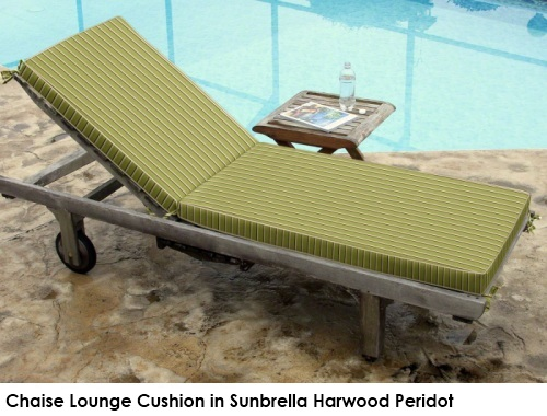 Chaise cushion in Sunbrella Harwood Peridot green fabric