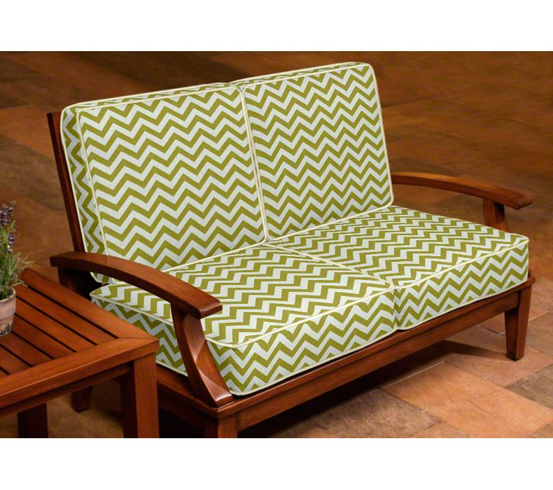 In the photo above, the cushions are welted with Sunbrella® Canvas fabric to coordinate with the main fabric, Premier Prints® Zig Zag in Village Green and Natural.