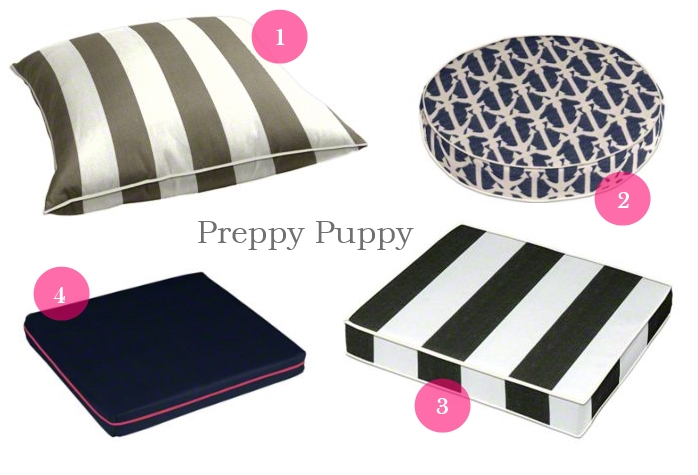 """1. Outdura """"Bistro"""" in Driftwood, 2. Alfresco """"Drop Anchors"""" in Royalty, 3. Outdura """"Bistro"""" in Checkerboard, and 3. Outdura """"Sparkle"""" in Navy with Sunbrella Hot Pink welting."""