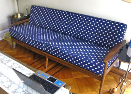 H. Noda of New York had custom cushions created for his vintage sofa. Ikat Dots in Success Natural blends today's trendy Ikat with the sleek mid-century design of this piece.