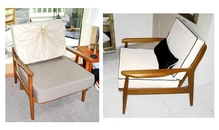 These two mid-century chairs feature two completely different looks. The chair of our customer, Stacey, (right) offers a playful touch by pairing Sunbrella Taupe (bottom cushion) with an floral outdoor top cushion. On the left, M. Sloan went with a structured appearance with off-white cushions and black welting.