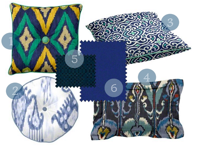 Ikat print is also big this year. These fabrics cover both color and pattern!