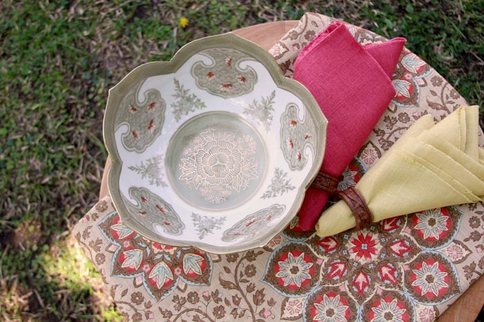 Classic fabrics for spring tablescapes