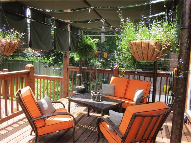 Outdoor living: custom drapes, pillows, and deep seating cushions are the perfect way to complete your seating area.