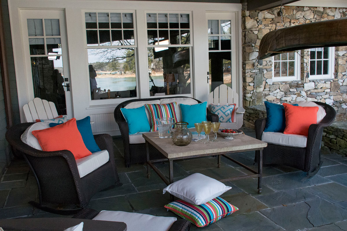 Enjoy comfortable outdoor seating with custom cushions and pillows.