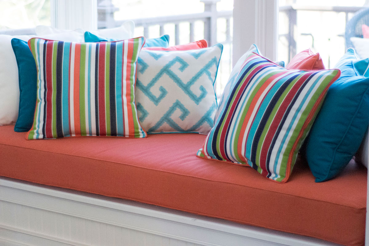 Mixed Colors Throw Pillows with Window Seat
