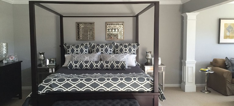 gray and white custom bedding
