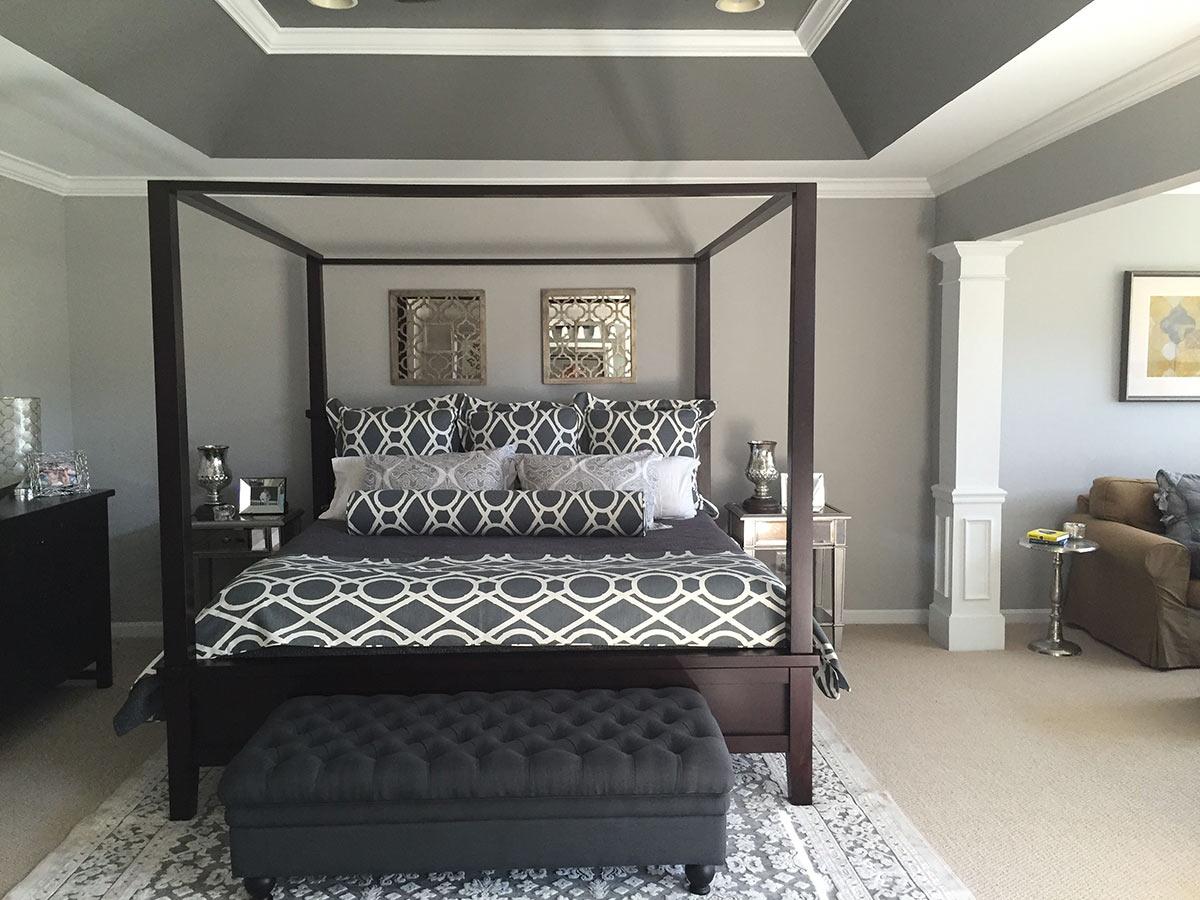 gray and white custom bedding