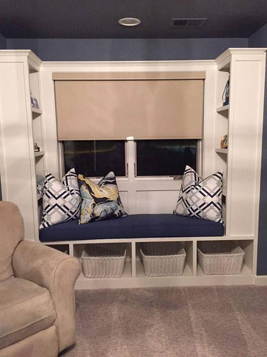 Navy Blue Nursery Window Seat Cushion