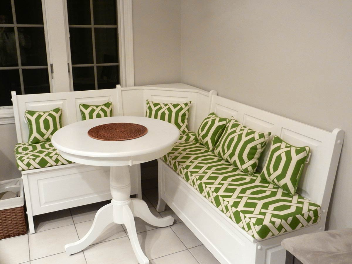 Green and White Breakfast Nook Cushions