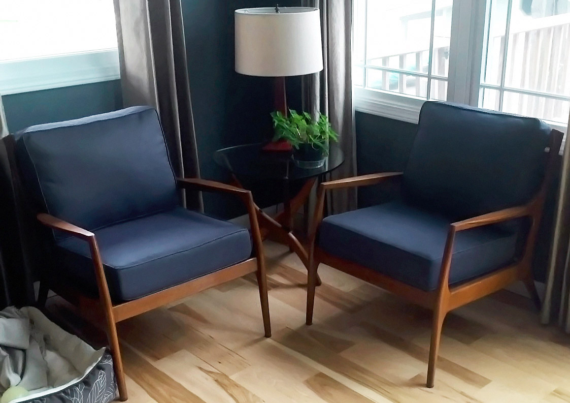 Navy Mid Century Modern Chairs