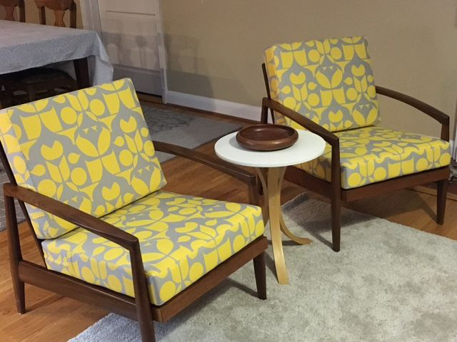 Yellow And Gray Mid Century Modern Chair Cushions