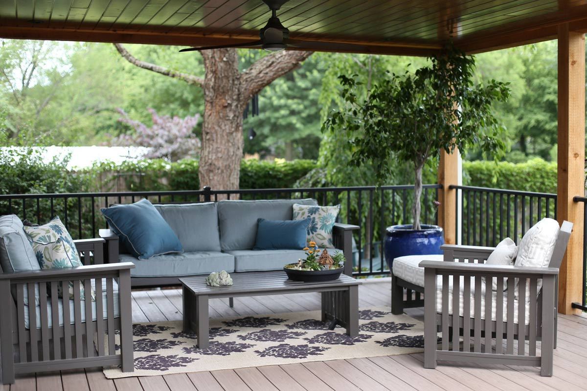 Blue and Gray Sunbrella Deep Seating Cushions