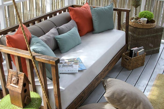 Hanging Porch Swing with Custom Cushion and Pillows
