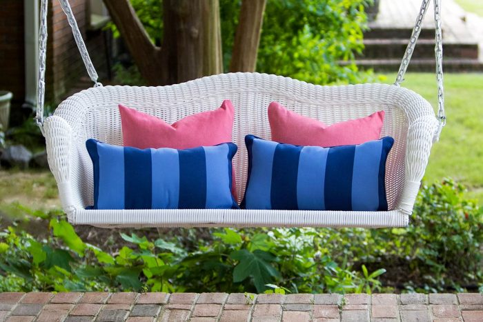 Wicker Porch Swing with Back Pillows